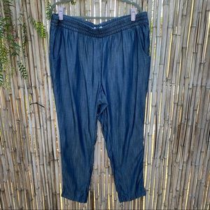Coldwater creek blue chambray tencel pull-on pants
